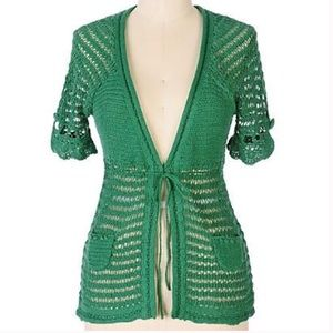 anthropologie MOTH green crocheted cardigan S